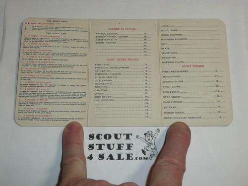 1927 Boy Scout Adult Membership Card, 3-fold, 7 signatures, expires December 1927, BSMC59
