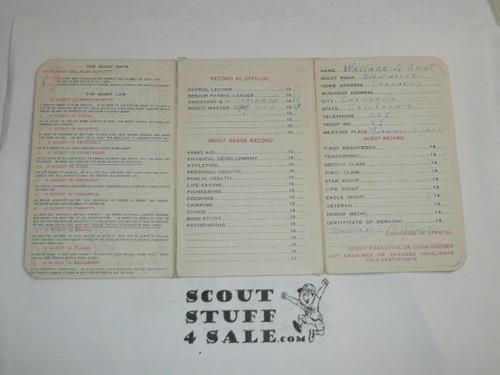 1930 Boy Scout Adult Membership Card, 3-fold, 7 signatures, expires January 1930, BSMC60
