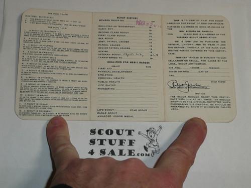 1924 Boy Scout Veteran Membership Card, 3-fold, 6 signatures, with envelope, BSMC61