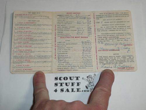 1932 Boy Scout Veteran Membership Card, 3-fold, 7 signatures, BSMC63
