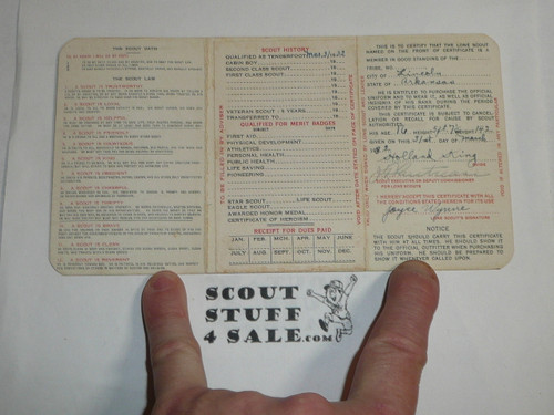 1933 Boy Scout Lone Scout Membership Card, 3-fold, 7 signatures, with envelope, expires January 1933, BSMC64