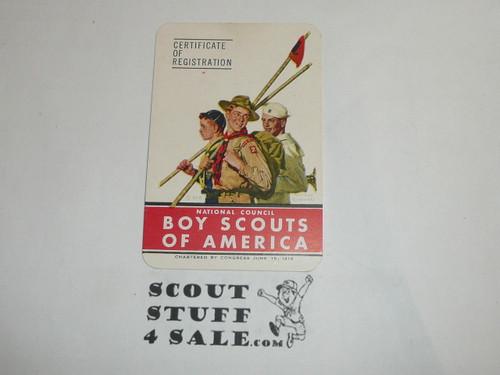1949-1951 Boy Scout Membership Card, 6 signatures, buyer to receive a card expiring ranging from 1949-1951 of this style, BSMC65