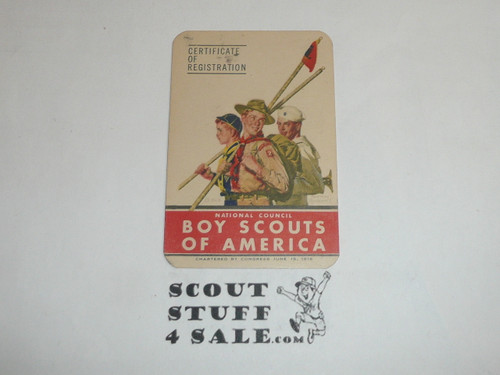 1951-1952 Boy Scout Membership Card, 7 signatures, buyer to receive a card expiring ranging from 1951-1952 of this style, BSMC67