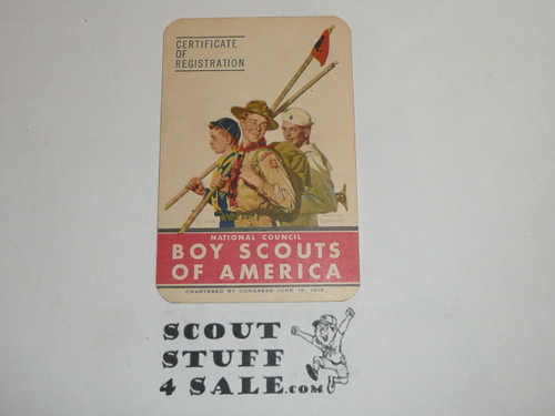 1953-1954 Boy Scout Membership Card, 2 signatures, buyer to receive a card expiring ranging from 1953-1954 of this style, BSMC68