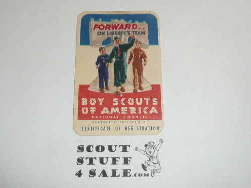 1955-1956 Boy Scout Membership Card, 2 signatures, buyer to receive a card expiring ranging from 1955-1956 of this style, BSMC69