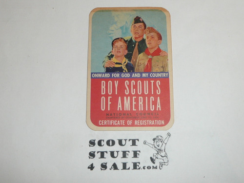 1955-1957 Boy Scout Membership Card, 2 signatures, buyer to receive a card expiring ranging from 1955-1957 of this style, BSMC70