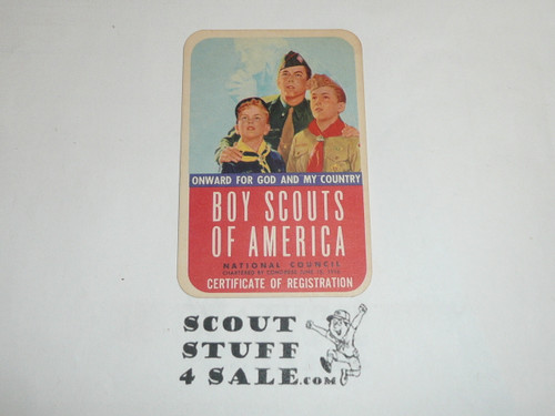 1957-1960 Boy Scout Membership Card, 2 signatures, buyer to receive a card expiring ranging from 1957-1960 of this style, BSMC71