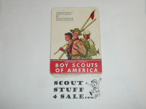1949-1950 Cub Scout Membership Card, 6 signatures, buyer to receive a card expiring ranging from 1949-1950 of this style, BSMC77