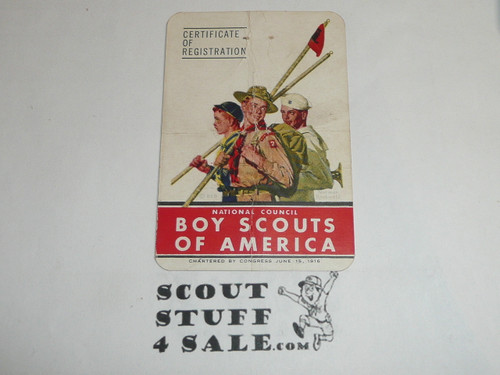 1949-1950 Cub Scout Membership Card, 6 signatures, buyer to receive a card expiring ranging from 1949-1950 of this style, BSMC78