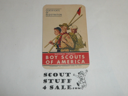 1951-1952 Cub Scout Membership Card, 7 signatures, buyer to receive a card expiring ranging from 1951-1952 of this style, BSMC81