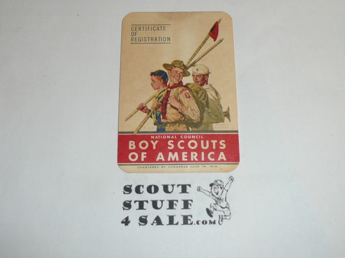 1953 Cub Scout Membership Card, 2 signatures, buyer to receive a card expiring ranging from 1953 of this style, BSMC82
