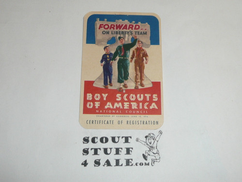 1954-1956 Cub Scout Membership Card, 2 signatures, buyer to receive a card expiring ranging from 1954-1956 of this style, BSMC83