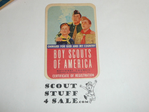 1958-1960 Cub Scout Membership Card, 2 signatures, buyer to receive a card expiring ranging from 1958-1960 of this style, BSMC84