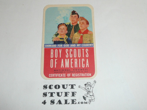 1956-1957 Cub Scout Membership Card, 2 signatures, buyer to receive a card expiring ranging from 1956-1957 of this style, BSMC85