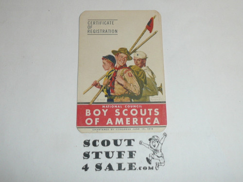 1950-1951 Explorer Scout Membership Card, 7 signatures, buyer to receive a card expiring ranging from 1950-1951 of this style, BSMC89