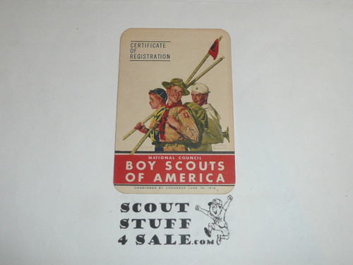 1949-1951 Explorer Scout Membership Card, 6 signatures, buyer to receive a card expiring ranging from 1949-1951 of this style, BSMC90