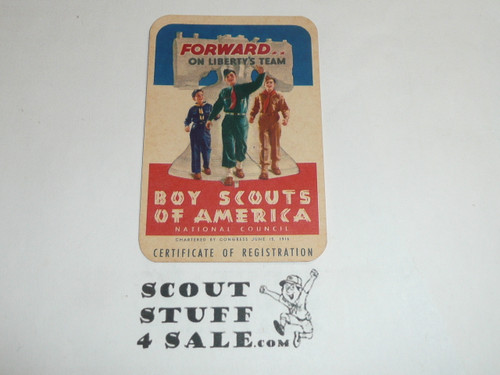 1956-1957 Explorer Scout Membership Card, 2 signatures, buyer to receive a card expiring ranging from 1956-1957 of this style, BSMC91