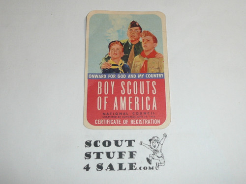 1958 Explorer Scout Membership Card, 2 signatures, buyer to receive a card expiring ranging from 1958 of this style, BSMC93