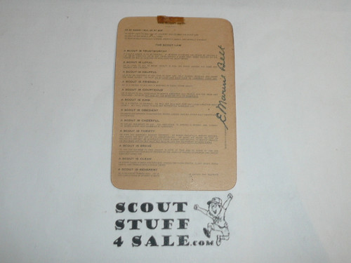 1946 Boy Scout Leader Membership Card, 6 signatures, buyer to receive a card expiring ranging from 1946 of this style, BSMC105