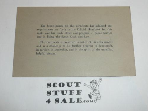 1934 Second Class Scout Rank Achievement Card, Boy Scout