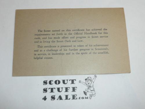 1939 Second Class Scout Rank Achievement Card, Boy Scout
