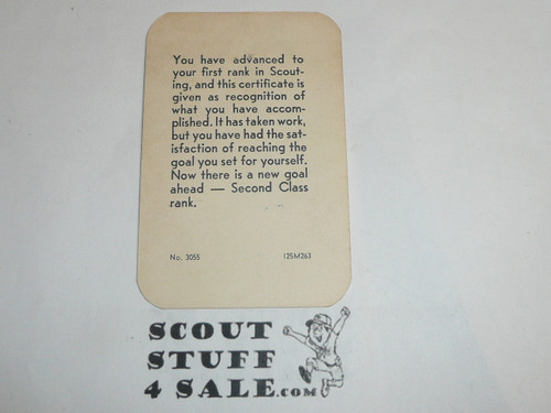 1963 Tenderfoot Scout Rank Achievement Card, Boy Scout, used
