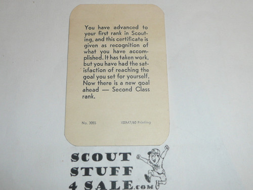 1961 Tenderfoot Scout Rank Achievement Card, Boy Scout, used