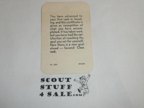1958 Tenderfoot Scout Rank Achievement Card, Boy Scout