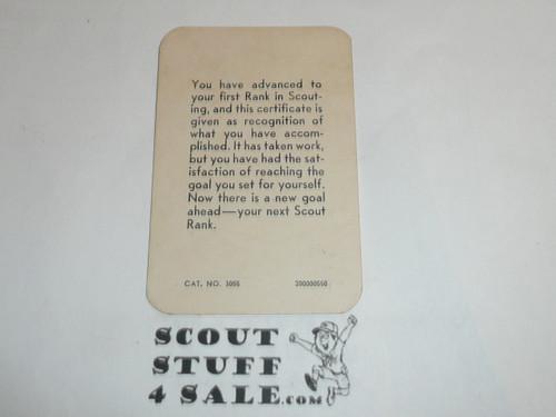 1950 Tenderfoot Scout Rank Achievement Card, Boy Scout