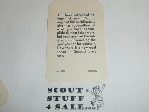 1962 Tenderfoot Scout Rank Achievement Card, Boy Scout