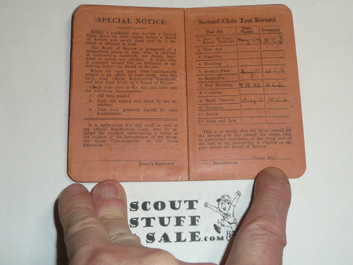 1943 Tenderfoot Scout Rank Achievement Card, Anthony Wayne Council, Boy Scout