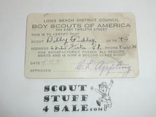 1940 Second Class Scout Rank Achievement Card, Long Beach Council, Boy Scout