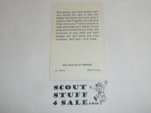 1990 Second Class Scout Rank Achievement Card, Boy Scout