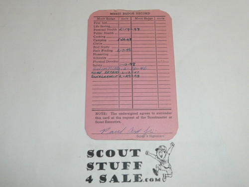 1946 First Class Scout Rank Achievement Card, Los Angeles Area Council, Boy Scout