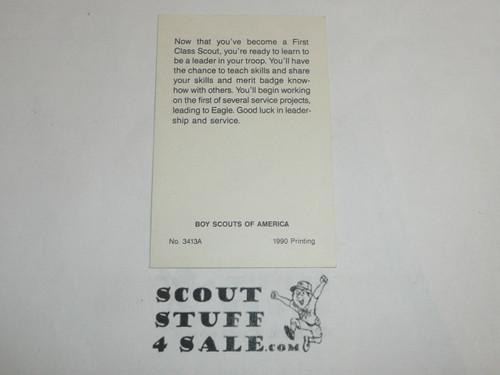 1990 First Class Scout Rank Achievement Card, Boy Scout