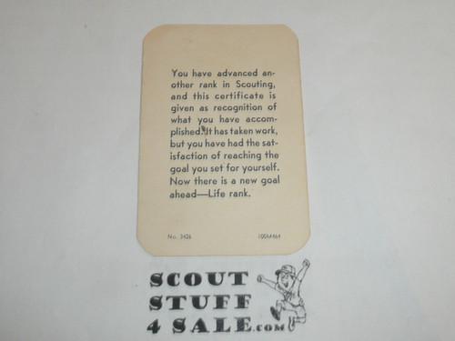 1964 Star Scout Rank Achievement Card, Boy Scout