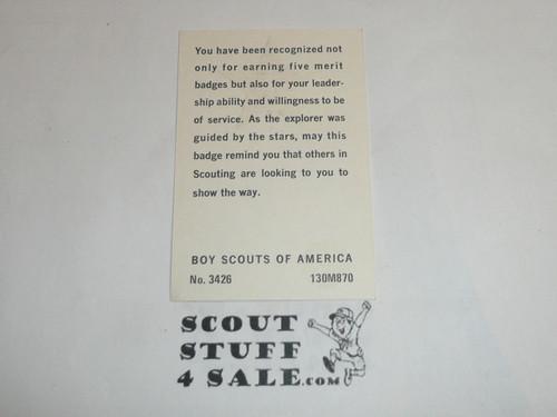 1970 Star Scout Rank Achievement Card, Boy Scout