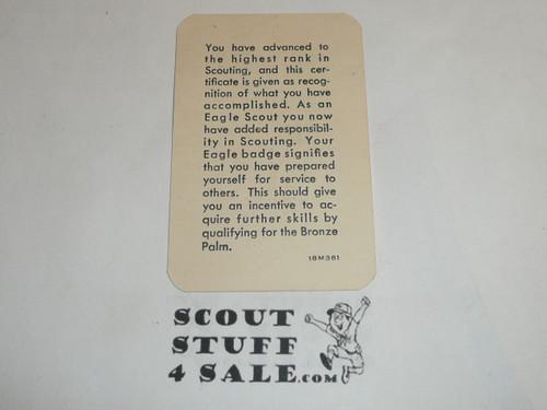 1961 Eagle Scout Rank Achievement Card, Boy Scout