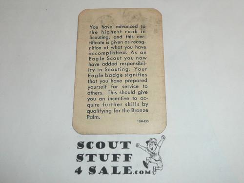 1955 Eagle Scout Rank Achievement Card, Boy Scout