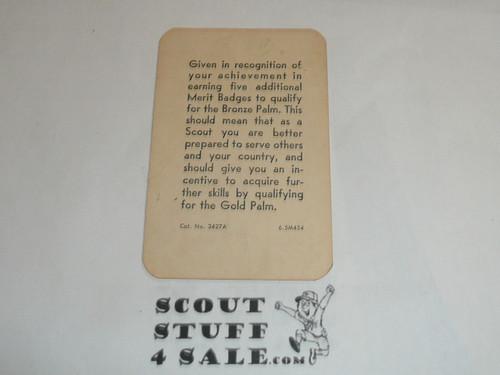 1963 Eagle Scout with Bronze Palm Rank Achievement Card, Boy Scout