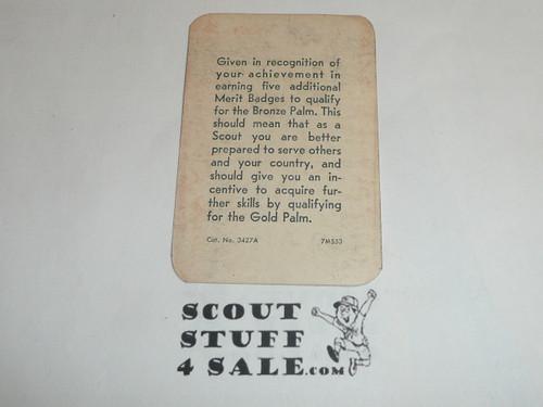 1956 Eagle Scout with Bronze Palm Rank Achievement Card, Boy Scout