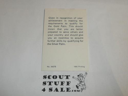 1985 Eagle Scout with Gold Palm Rank Achievement Card, Boy Scout