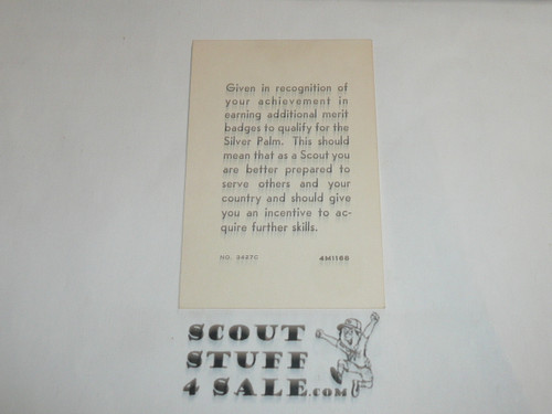 1968 Eagle Scout with Silver Palm Rank Achievement Card, Boy Scout
