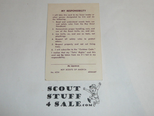 Totin' Chip Card for Boy Scout Knife Training, blank, 4-69 printing
