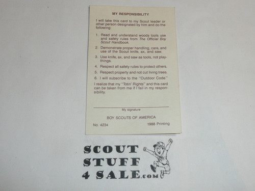 Totin' Chip Card for Boy Scout Knife Training, blank, 1981 printing