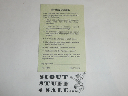Firem'n Chit Card for Boy Scout Fire Training, blank, 1985 printing