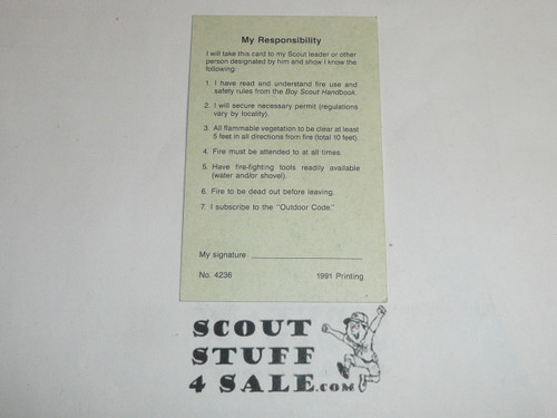 Firem'n Chit Card for Boy Scout Fire Training, blank, 1991 printing