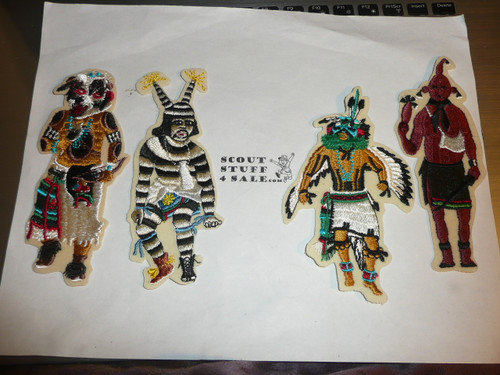 Set of 10 Embroidered on Felt Kachina Dancer Patches, Boy Scouts
