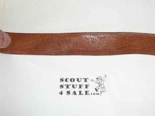"""1950's Official Boy Scout Tooled Leather Belt, 34"""" waist, used"""
