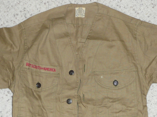 """1930's Boy Scout Uniform Shirt with metal buttons, MINT unused condition, 17"""" Chest and 24"""" Length, #BD3"""